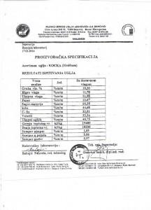 Ugalj banovici kocka proizvodjacka specifikacija